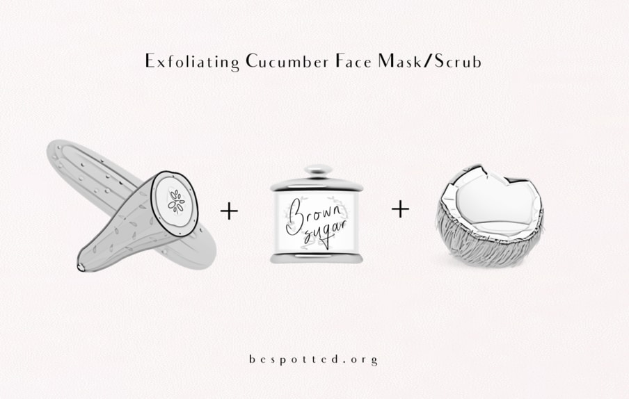 The ingredients for Exfoliating Cucumber Face Mask/Scrub