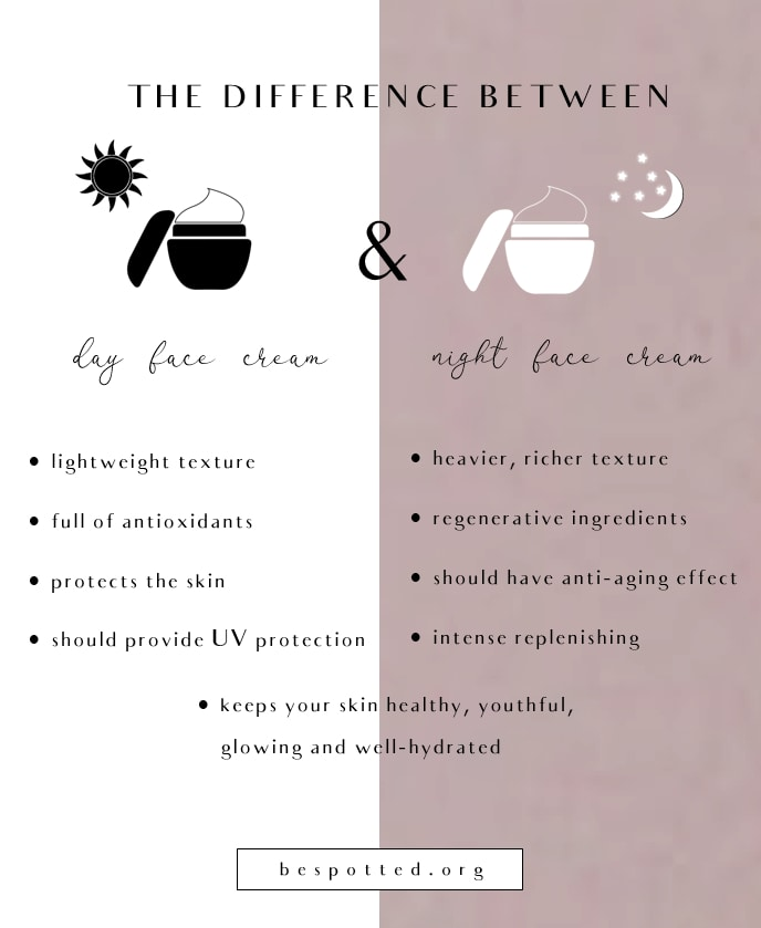 An infographic showing the differences between day and night face creams