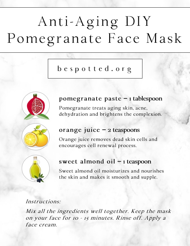 Infographic showing a recipe for Anti-Aging DIY Pomegranate Face Mask