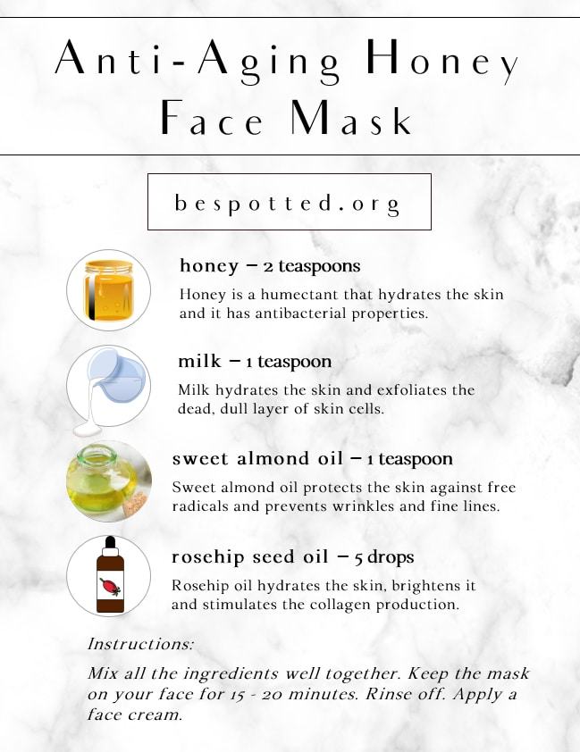An infographic showing the recipe for Anti-Aging Honey Face Mask