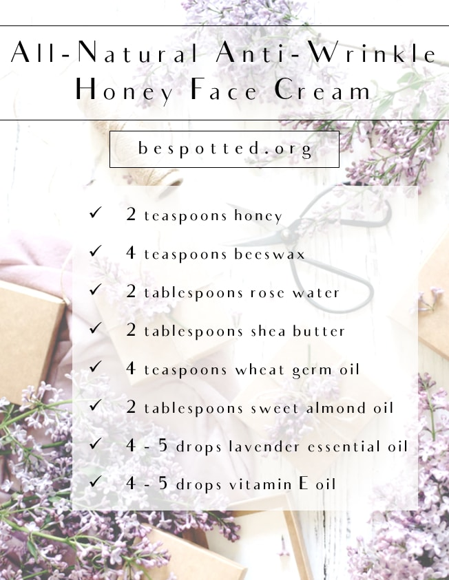 An infographic showing the recipe for All-Natural Anti-Wrinkle Honey Face Cream