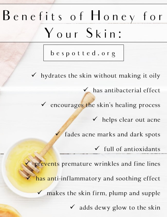 An infographic showing benefits of honey for skin