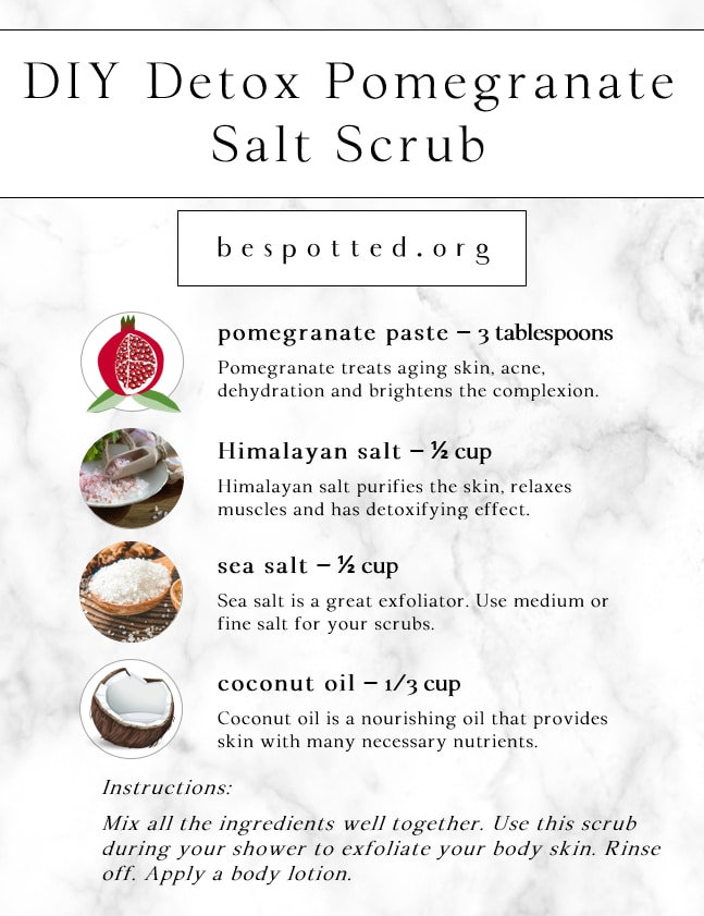 Infographic showing a recipe for DIY Detox Pomegranate Salt Scrub