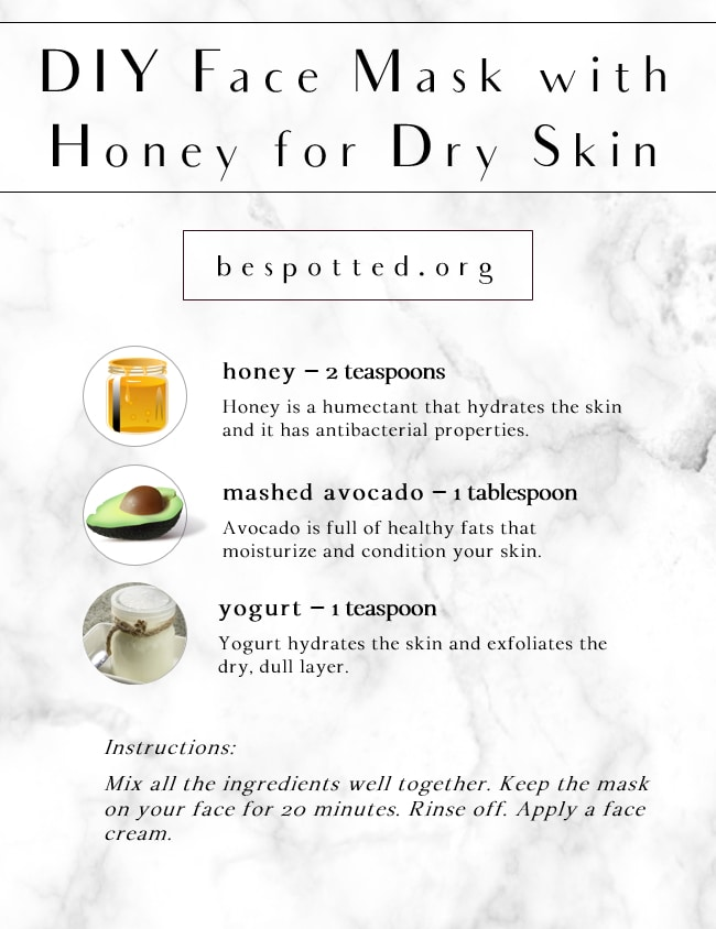 An infographic showing the recipe for DIY Face Mask with Honey for Dry Skin