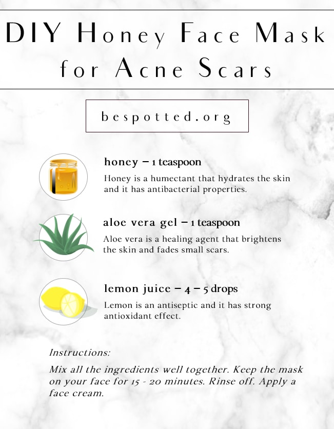 An infographic showing the recipe for DIY Honey Face Mask for Acne Scars