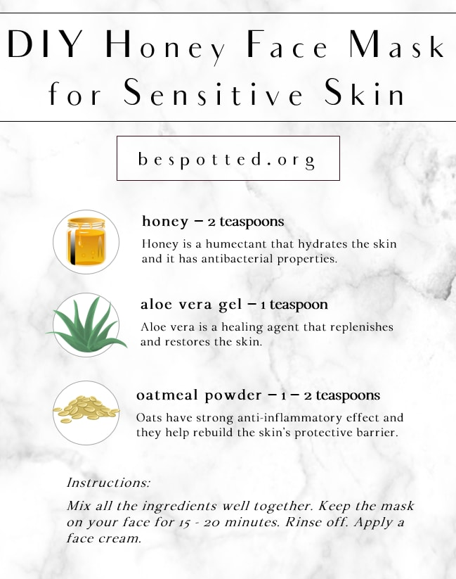 An infographic showing the recipe for DIY Honey Face Mask for Sensitive Skin