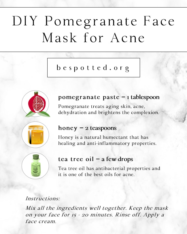 Infographic showing a recipe for DIY Pomegranate Face Mask for Acne and Blemishes