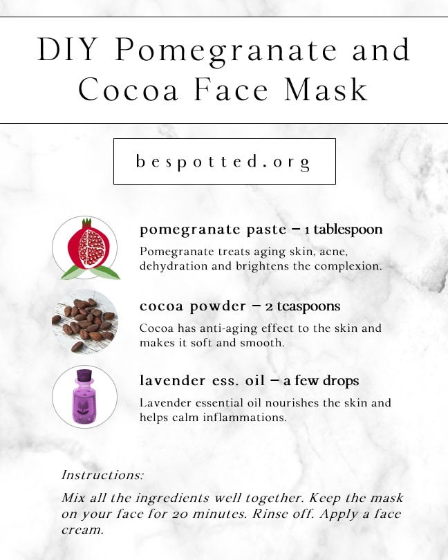 Infographic showing a recipe for DIY Pomegranate and Cocoa Face Mask