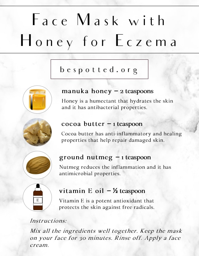 An infographic showing the recipe for Face Mask with Honey for Eczema