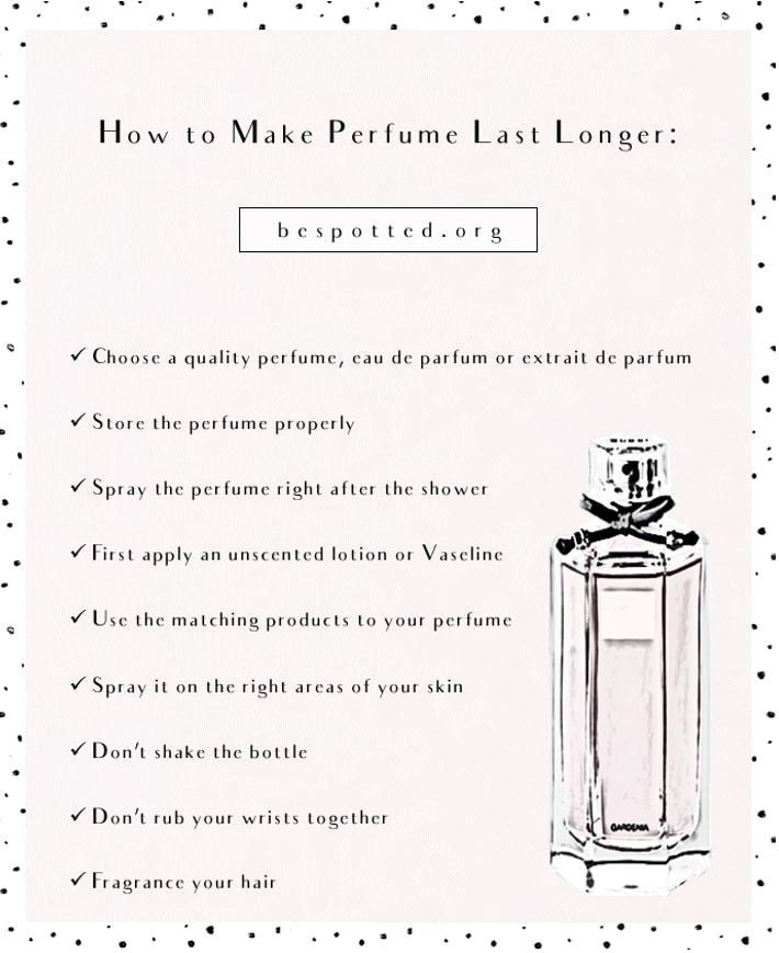 An infographic showing a list of tips on how to make your perfume last longer