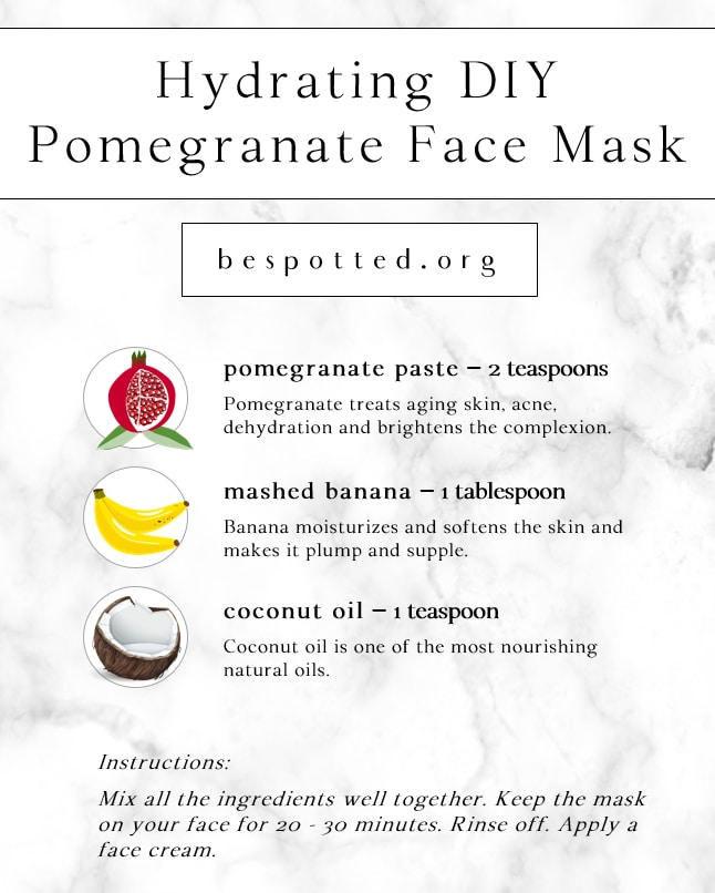 Infographic showing a recipe for Hydrating DIY Pomegranate Face Mask