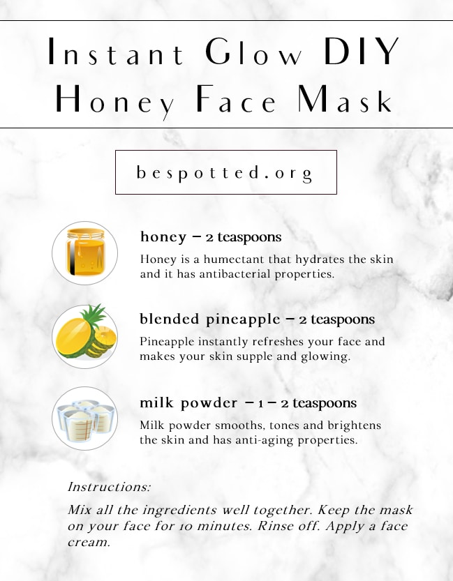 An infographic showing the recipe for Instant Glow DIY Honey Face Mask