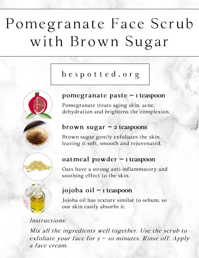 Infographic showing a recipe for Pomegranate Face Scrub with Brown Sugar