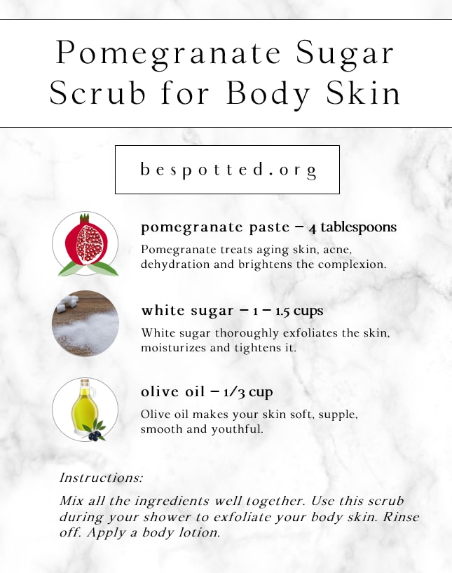 Infographic showing a recipe for Pomegranate Sugar Scrub for Body Skin