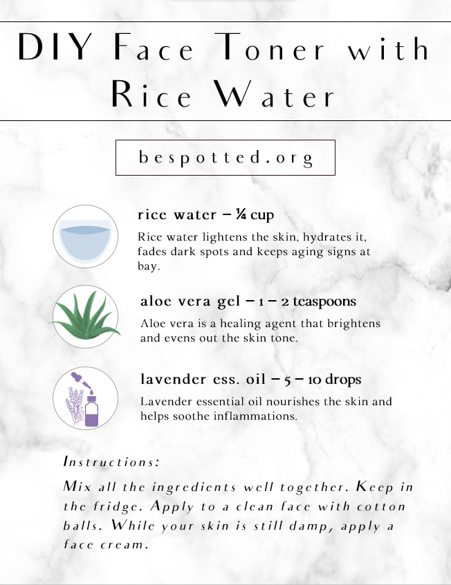 An infographic showing a recipe for DIY face toner with rice water
