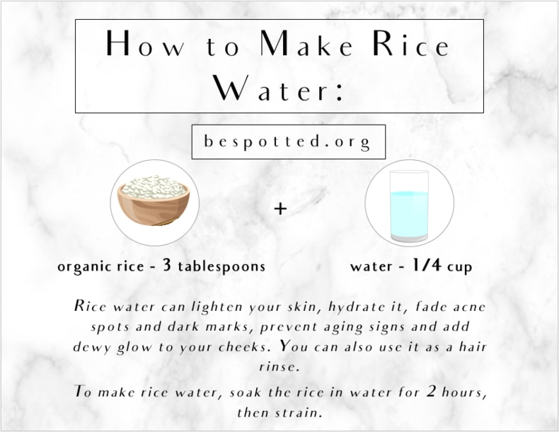 An infographic showing how to make rice water for skincare