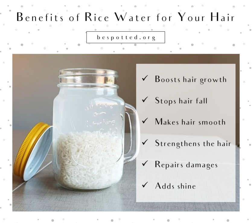 An infographic showing the benefits of rice water for hair