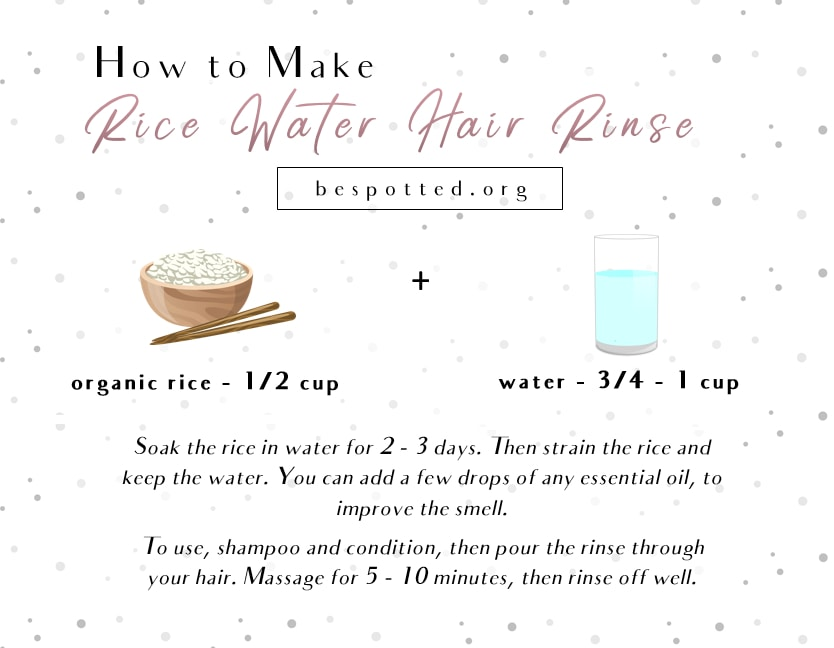 An infographic showing the recipe for rice water hair rinse
