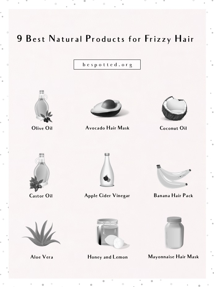An infographic showing 9 best natural products for frizzy hair