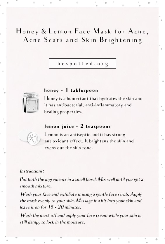 An infographic showing a recipe for DIY honey and lemon face mask for acne, acne scars and skin brightening