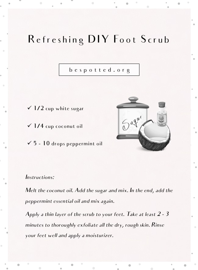 An infographic showing a recipe for DIY foot scrub