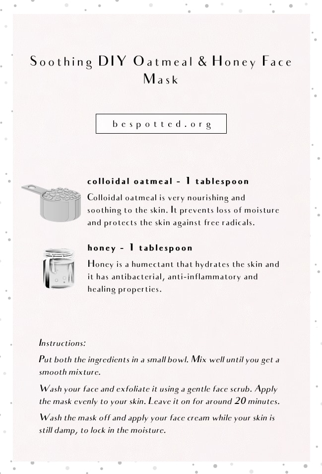 An infographic showing a recipe for DIY oatmeal and honey face mask