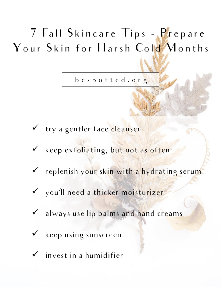 An infographic showing all the steps of a proper fall skincare routine
