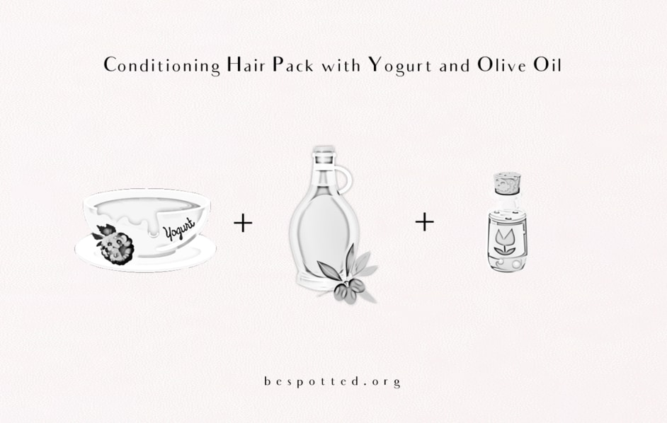 All the ingredients for DIY Conditioning Hair Pack with Yogurt and Olive Oil