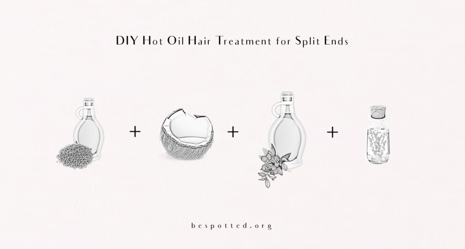 An infographic showing a recipe for DIY hot oil hair treatment for split ends