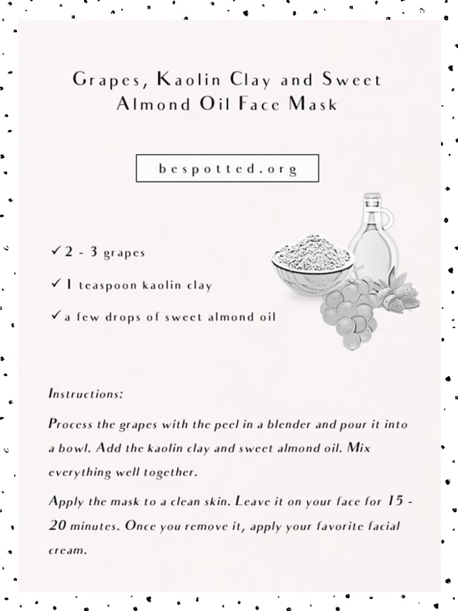 Instructions on how to make Grapes, Kaolin Clay and Sweet Almond Oil Face Mask