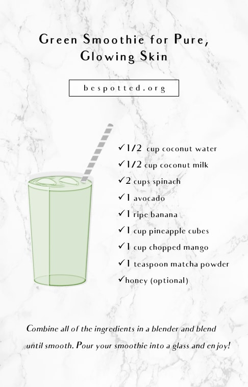 An infographic showing a recipe for green smoothie for glowing skin