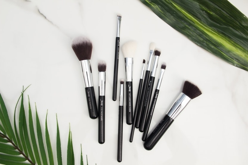A pile of clean makeup brushes
