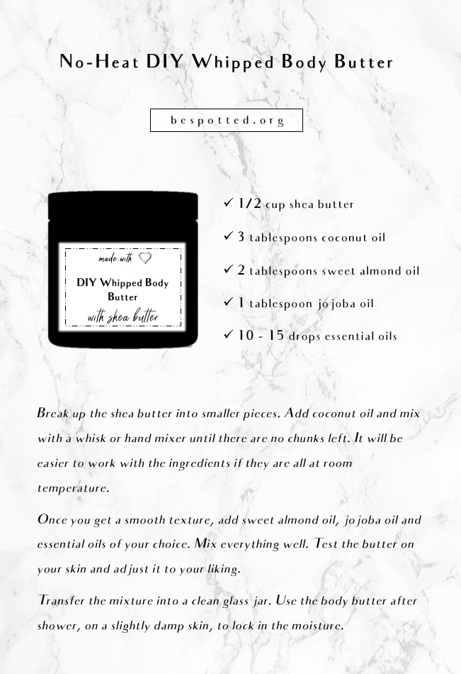 An infographic showing a recipe for no-heat DIY whipped body butter