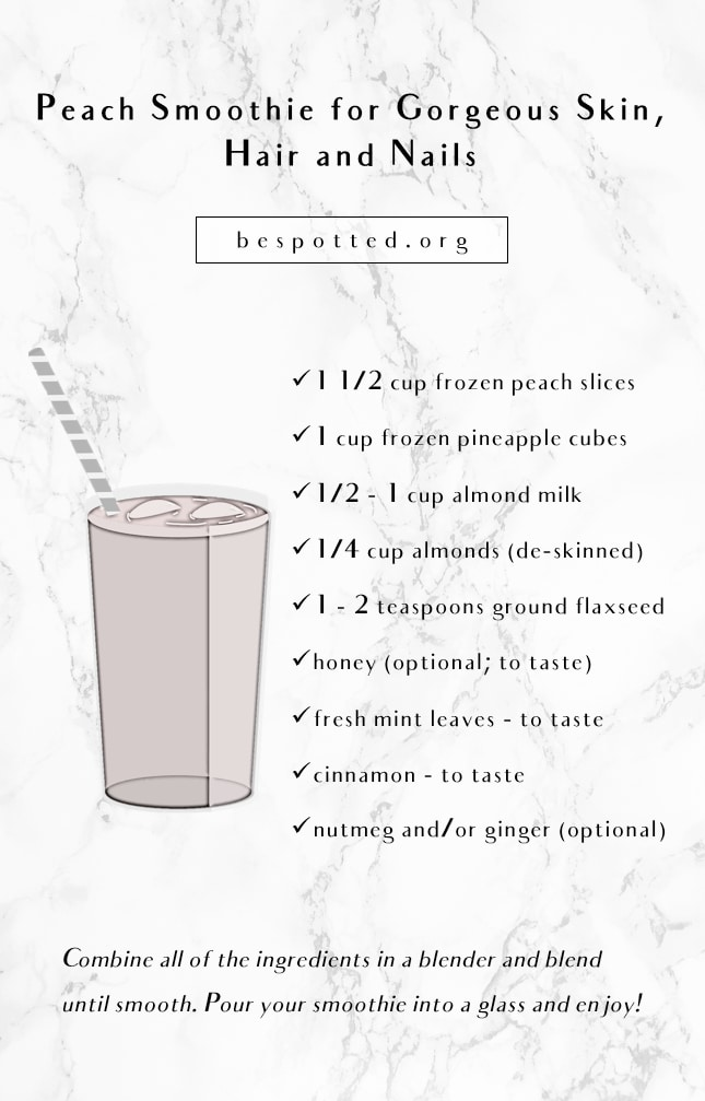 An infographic showing the peach smoothie recipe