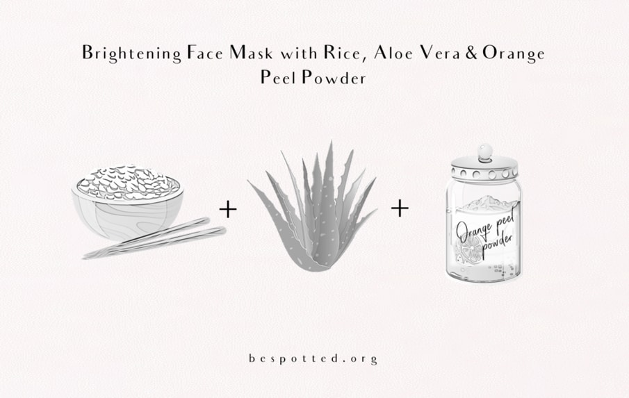 ingredients for brightening face mask with rice, aloe vera gel and orange peel powder
