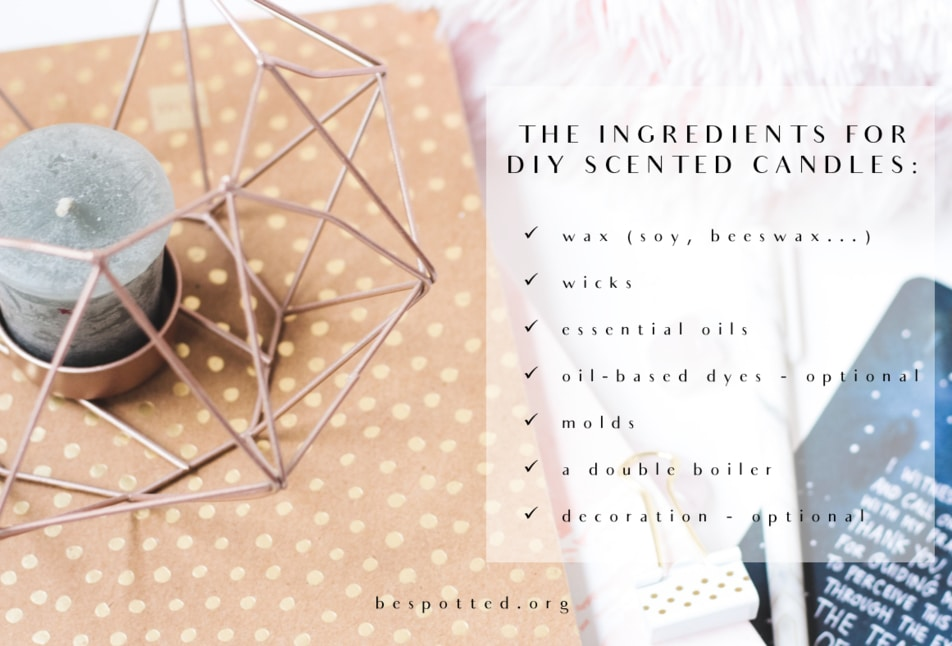 A DIY scented candles and a list of all the necessary ingredients