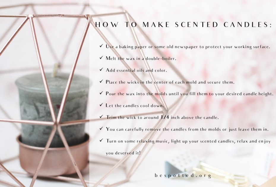 An inforgraphic of all the steps when making your own aromatic candles