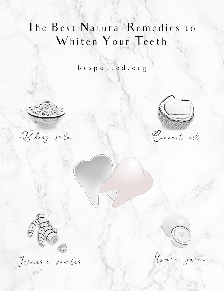 An infographic showing 4 best natural at-home remedies to whiten teeth