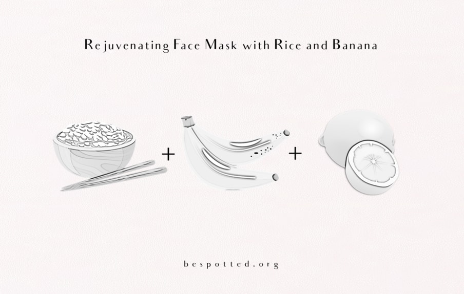 Ingredients for a rejuvenating DIY rice face mask with banana and lemon juice