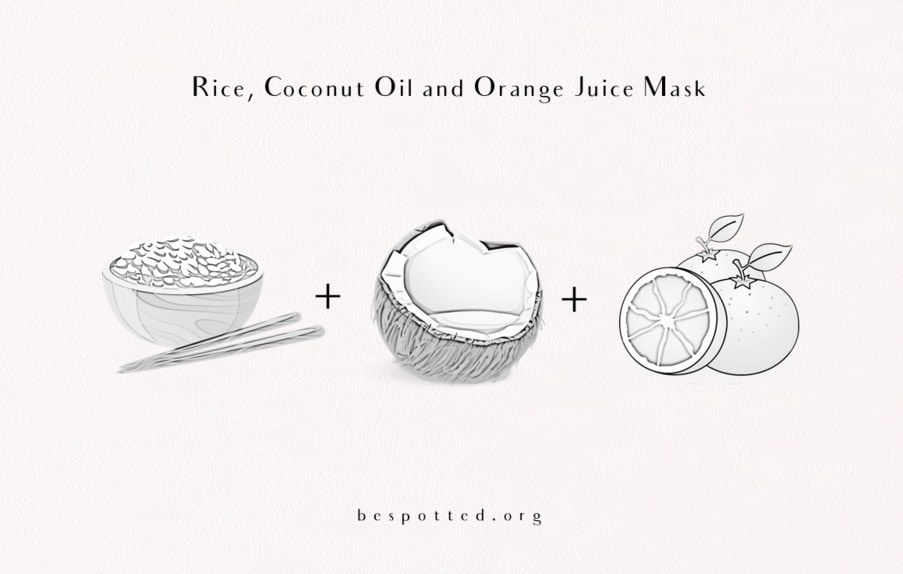 How to make a face mask with boiled rice, coconut oil and fresh orange juice
