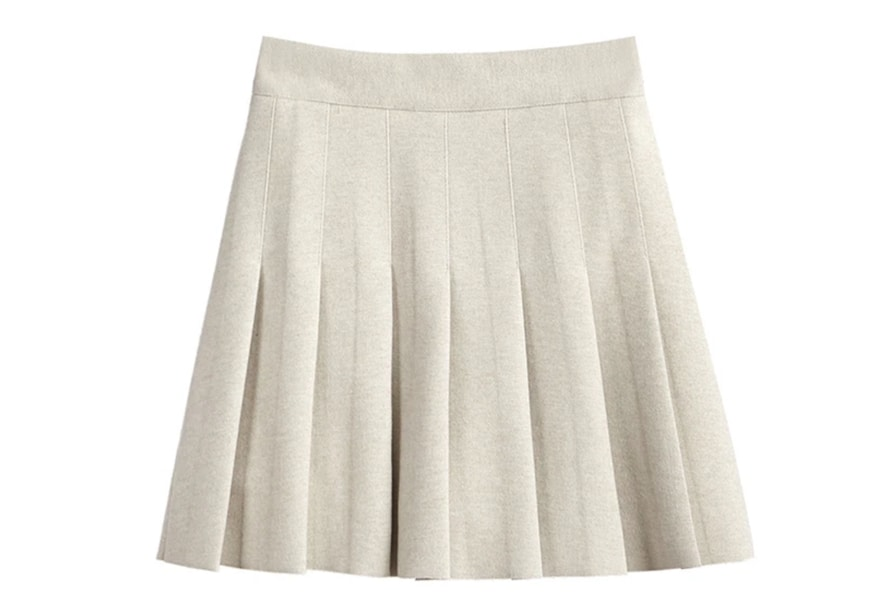 A basic mini skirt in a neutral beige color