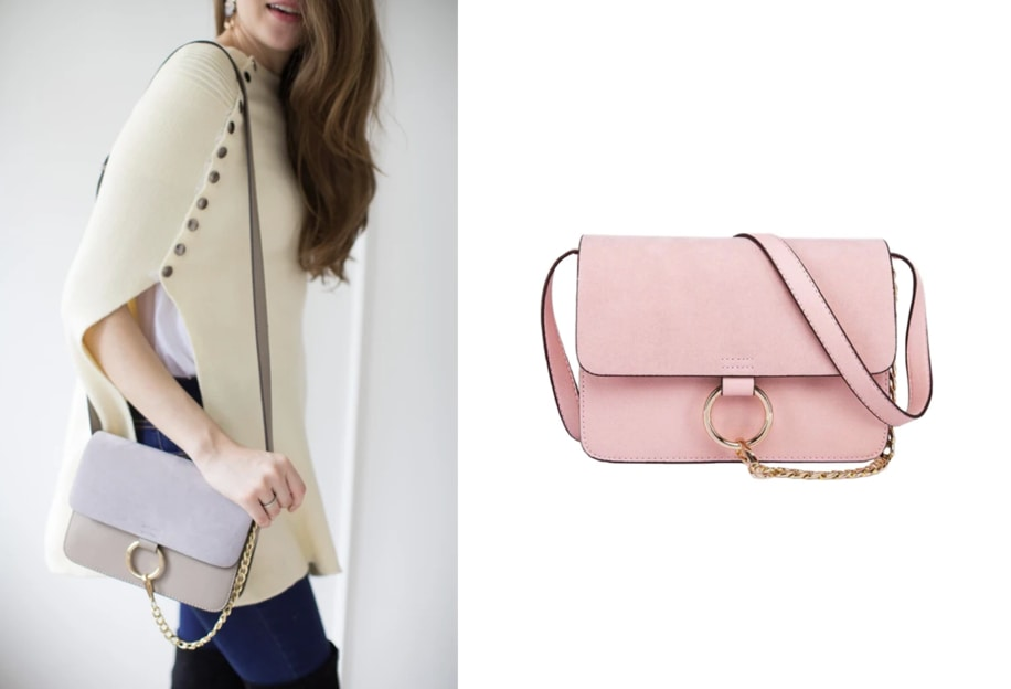Spring wardrobe essentials - beautiful small cross-body bag in pink and grey color