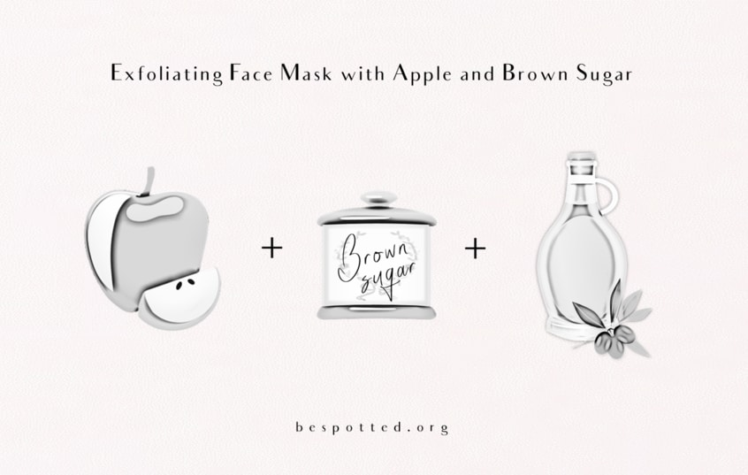 The Ingredients for Exfoliating Face Mask with Apple and Brown Sugar