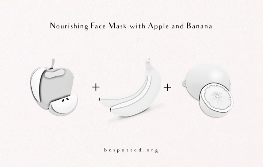 All the Ingredients for Nourishing Face Mask with Apple and Banana