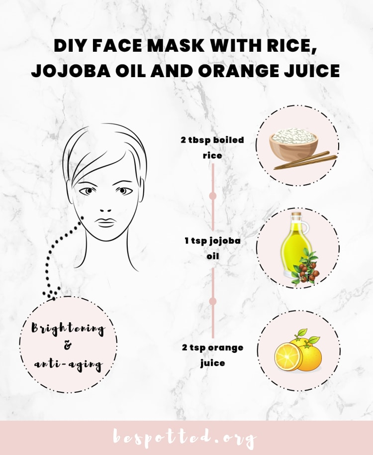 DIY Face Mask with Rice, Jojoba Oil and Orange Juice Recipe