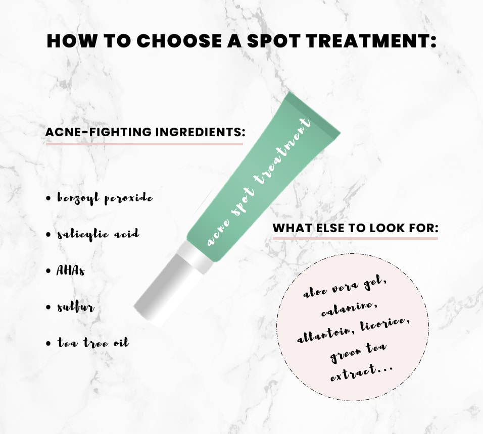 An infographic of the best ingredients to look for when choosing a spot treatment