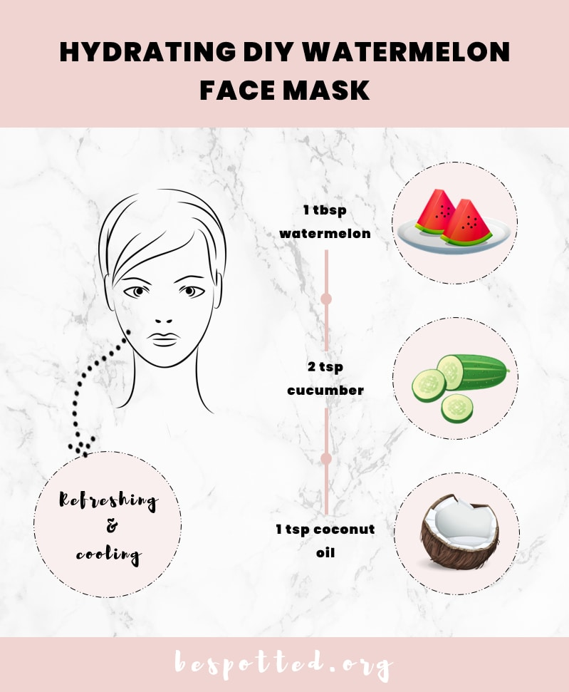 A recipe for watermelon face mask with cucumber and coconut oil