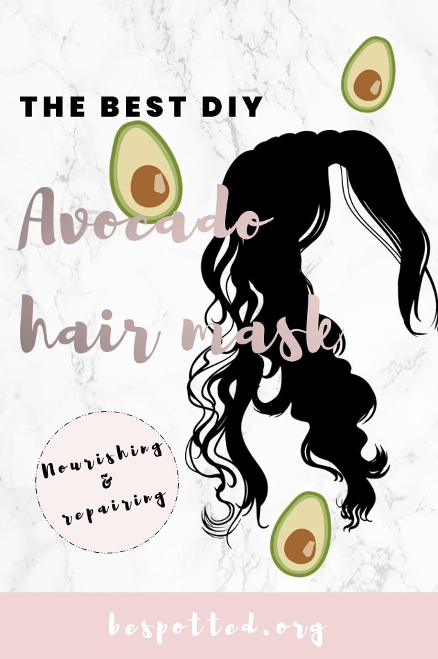 A Pinterest friendly image for avocado hair mask