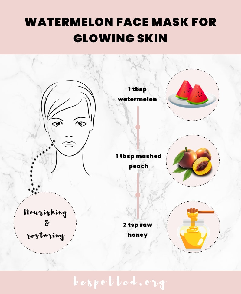 Skin nourishing face mask with watermelon, peach and honey