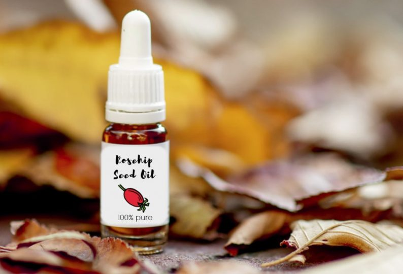 A bottle of rosehip oil for skin and face care